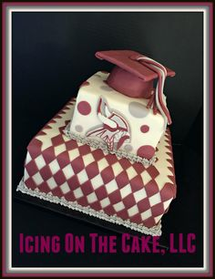 Class of 2015!  Two tiered graduation cake, covered in fondant.   www.facebook.com/icingonthecake1