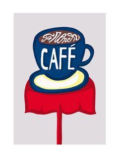 French Café - Illustration réalisée par Florence Bamberger - Numérotée et signée - 18 x 24 cm - Tirage limité à 50 ex. - En exclusivité chez L'illustre Boutique