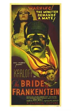 The Bride of Frankenstein Movie Poster x 40 Inches - x -(Boris Karloff)(Elsa Horror Movie Posters, Horror Movies, Horror Film, Horror Art, James Whale, Famous Monsters, Bride Of Frankenstein, Classic Monsters, Sci Fi Movies