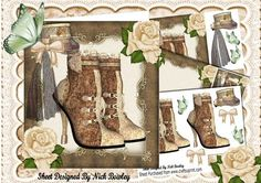 Pretty lace brown cream steampunk boots with roses kit on Craftsuprint - Add To Basket!