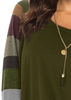 Women's Casual Long Sleeve Round Neck Green Loose Tunic T Shirt With P – Sampeel Women's Casual, Shirt Blouses, T Shirt, Tunic, Pocket, Navy And Green, Daily Wear, Long Sleeve, Sleeves