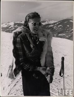 Skiing style in Life magazine, c. 1940s fashion 40s winter jacket sun glasses pants found photo print
