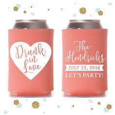 Drunk in Love  Wedding Can Cooler 43  Custom  by SycamoreStudiosCo