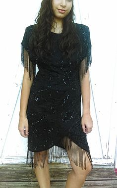 Vintage Black Sequined Dress Fringe Dress  by GenesisVintageShop
