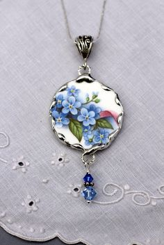 Broken China Jewelry Pendant Necklace by Robinsnestcreation1, $41.95