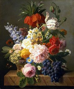 Title: Still Life with Flowers and Fruit, 1827 Artist: Jan Frans van Dael Medium: Hand-Painted Art Reproduction