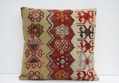 20x20 Decorative Kilim Pillow VintageCushion Covers wool Kilim Pillow Pillowcase Striped Kilim Pillows Throw pillow Turkish pillow Anatolian