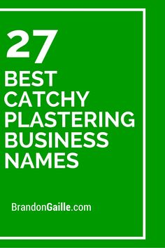 27 Best Catchy Plastering Business Names