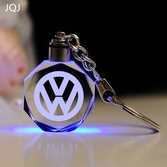 JQJ Laser Engraved Crystal Car Logo Keychain LED Light Wall Hanging Rings Souvenir Gift Styling Chaveiros Llavero Personalized