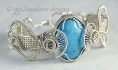 Sterling Silver Wove Wire Jellyfish Helix Bracelet with Narcozi Turquoise
