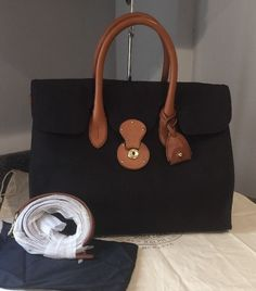 "14.5"" Coated Canvas Ralph Lauren 2014 Black Ricky Tote $695 New #RalphLauren #TotesShoppers"