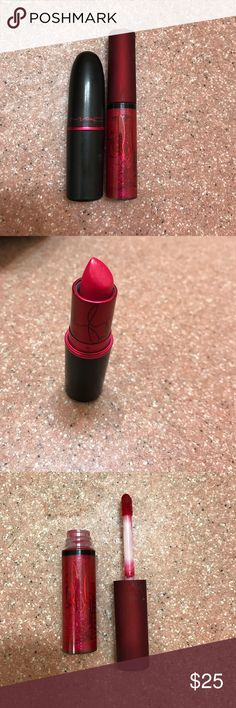 Mac Viva Glam Miley Cyrus and Rihanna This listing is for 2 Mac limited edition Viva glam lip products. The Miley Cyrus Lipstick in amplified BA4, and the Rihanna Lipglass in Rihanna BA3. Both products have been swatched ONLY and have been sanitized. MAC Cosmetics Makeup Lipstick