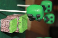 Minecraft cake pops for a birthday party - by Courtney's Cake Pops! www.facebook.com/fmcakepops