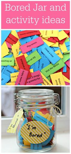 Whenever a camp group cant agree what to do...they will pick an activity out of the 'bored jar'.
