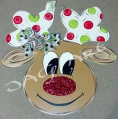 Super Cute polka dot or chevron style antlers, glitter nose, reindeer * 24 tall. made from 1/4 birch * sealed for weather resistance * metal