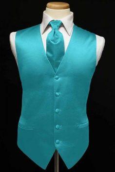 Vest & Ties for Quinceañera chambelanes - Turquoise & Teals Aqua Wedding, Summer Wedding Colors, Peacock Wedding, Wedding Suits, Wedding Attire, Trendy Wedding, Wedding Tuxedos, Wedding Turquoise, Wedding Ideas