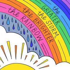 the brighter the rainbow. the brighter the rainbow.,Reminders the brighter the rainbow. Happy Thoughts, Positive Thoughts, Positive Vibes, Positive Quotes, Positive Art, Words Quotes, Me Quotes, Motivational Quotes, Inspirational Quotes