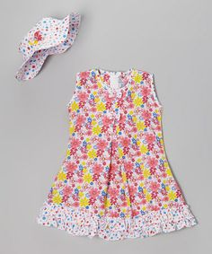 Look what I found on #zulily! Red & Yellow Floral Ruffle Dress & Hat - Infant, Toddler & Girls by Sam de Fleur #zulilyfinds