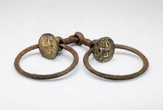 Bridle Bit with Rings: Applique Bronze Medallions with Depictions of Bellerophon and the Chimera, 200-400 CE Bit Roman , 3rd-4th century...