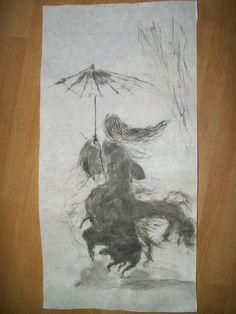 Donna con ombrello Sumi-e