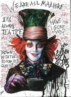 The Mad hatter from Alice in Wonderland (Tim Burton)Watercolour pencils21x30