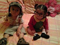 Bebês fantasiados de Chaves e Chiquinha
