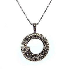 STERLING SILVER MARCASITE CIRCLE PENDANT NECKLACE