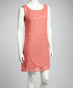 Take a look at this Coral Daisy Shift Dress by Point Fashion on #zulily today!