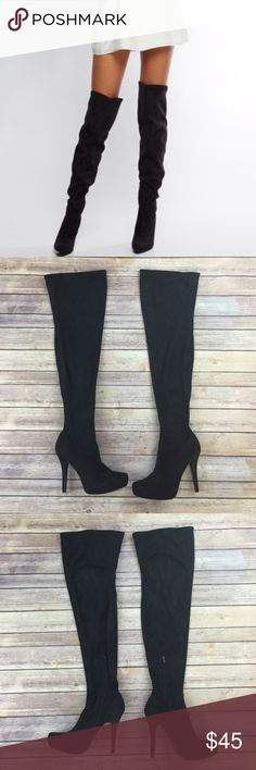 9119d7e7b9b Shoedazzle Vegan Suede Thigh High Boots Excellent condition. Like new. 1  inch platform.