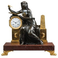 """Egyptian"" Empire Mantel Clock by Lepaute, Case Att to Claude Galle 