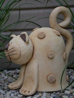 Discover thousands of images about Mourek Hand Built Pottery, Slab Pottery, Ceramic Pottery, Ceramic Art, Clay Owl, Clay Cats, Ceramic Animals, Clay Animals, Polymer Clay Miniatures