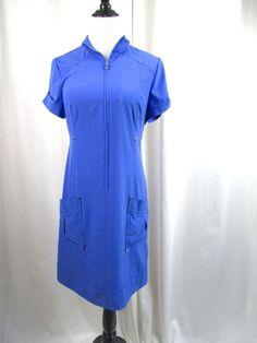 Zenergy by Chico's Blue Zipper Collar Pocket Shift Dress Size .5 6 8 Stretch EUC #Chicos