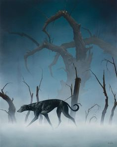 Tim Cantor's painting.... of a dog.. probably about HUNGER.. He's on of the Best artists I've ever seen. I checked , it's called ' alone'