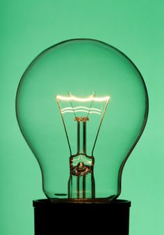 incandescent light bulb and socket on a green background