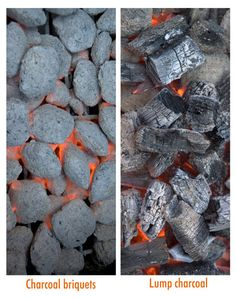 All about charcoal briquets (or briquettes), hardwood lump charcoal, and whole wood charcoal, how it is made, how to use them, and which is better.