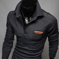 Brand 2016 Knitted Pullover Mens Lapel Fashion Sweaters Male Paste Paper Polo Shirt Winter Men Sweater XXL 2013 - The Big Boy Store Rugged Style, Style Casual, Men Casual, Fashion Night, Look Fashion, Cheap Fashion, Fashion Styles, Fashion Photo, Womens Fashion