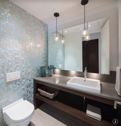 Contemporary Powder Room with Duravit vero above basin sink, Feiss urban renewal 1 light pendant, Standard height, can lights