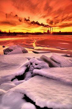Sunset in Oulu, Finland