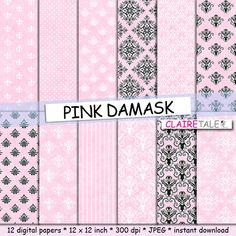 """Buy Pink damask digital paper: """"PINK DAMASK"""" with classic damask pattern, fleur de lis, stripes, polka dots on light pink background by clairetale. Explore more products on http://clairetale.etsy.com"""