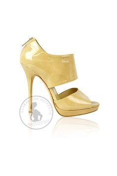 JIMMY CHOO Beige Patent Leather Peep Toe Shoes (Size 37) - Haute Classics - Authentic Luxury Designer Consignment