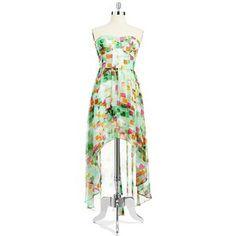 GUESS Strapless Hi-Lo Dress