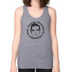 George Clooney Is A Beautiful Man Unisex Fine Jersey Tank (on woman) Shirt