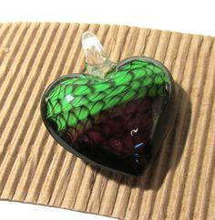 Murano HEART Pendant VINTAGE Glass Pendant Purple Green Lampwork Heart Pendant Swirls Vintage Jewelry Supplies Lampwork Glass (R56) by punksrus on Etsy