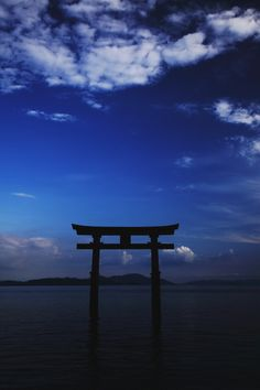 Torii Gate in Lake Biwa, Shirahige Shrine, Shiga, Japan