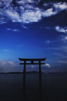 Torii Gate in Lake Biwa, Shirahige Shrine, Shiga, Japan