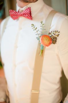 boutonniere and suspenders