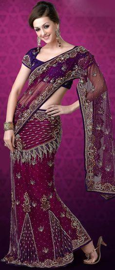 Dark #Pink Net #Lehenga Style #Saree with #Blouse @ US $574.67