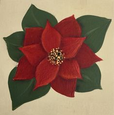 Add dots to the centre of your Poinsettia to complete the flower