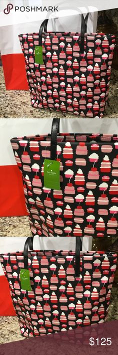 "Kate spade cupcake tote NWT Kate spade cupcake tote super cute 5""deep 13.5 high 16"" long strap drop 8"" coated in vinyl easy to wipe down. kate spade Bags Totes"