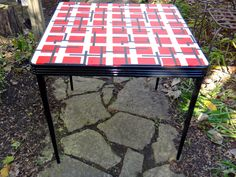 Durham Table 34, Folding Table, Furniture, Folding Card Table, Retro Table, 1940s Red Black Vinyl Table, Metal Table, Muncie IN Furniture by MaxsUniquities on Etsy